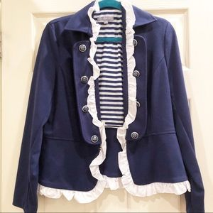 NY Collection Blue/White Nautical/Military Blazer